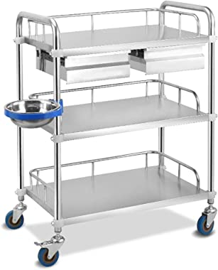 Zhao Li Large 3-Shelf Medical Nurse Storage Trolley with 2 Drawers,Stainless Steel Utility Cart for Laboratory Equipment Trolley (Size : 66x44x86cm)