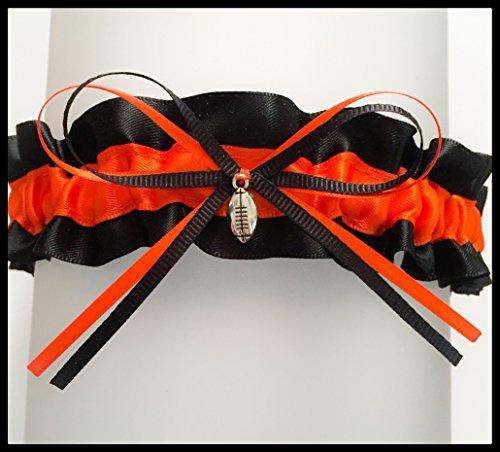 Black Orange Satin Wedding Keepsake Bridal Garter - Football Charm