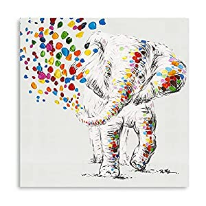"""Happy Elephant Canvas Wall Art Cute Elephant Spraying Water Picture Print for Kids Room Bathroom Poster Framed Ready to Hang (14""""x14""""x1 Panel)"""