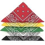 KARL LOVEN Lotto di 5 bandane 100% Cotone Paisley Sciarpa Testa Collo Fazzoletti (Lotto di 5, Verde Giallo Rosso Bianco Nero)