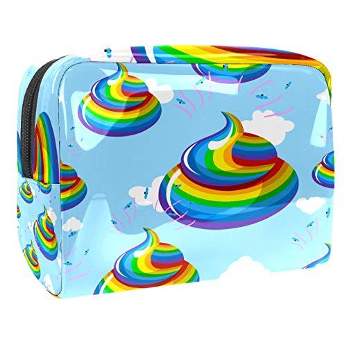 Kosmetiktasche Lustiges Regenbogen-KOT-Blau Makeup Tasche Reise Kosmetiktaschen Tragbare Verfassungsbeutel Waschtasche Münzbeutel mit Reißverschluss 18.5x7.5x13cm