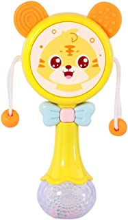 Anniston Kids Toys, Cartoon Pellet Drum Shaking Rattle Baby Hand Bell Music Light Rhythm Teether Toy Smart Toys Perfect Fu...