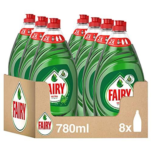 Fairy Ultra Lavavajillas a Mano, 6.2 L (8 x 780 ml), Óptimo Poder Antigrasa, Mega Pack