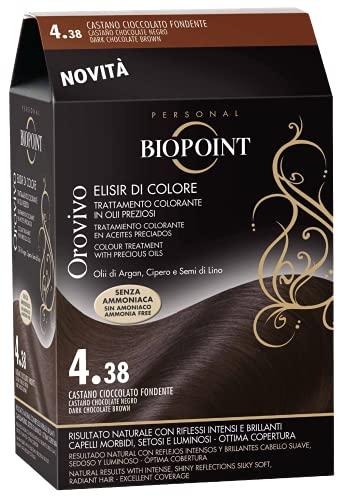 BIOPOINT Orovivo Tinta per Capelli (Tono Castano Cioccolato Fondente 4.38) - 30 ml.