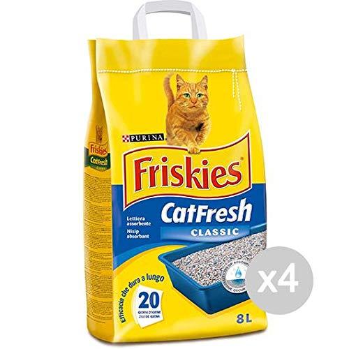 Set 4 FRISKIES Lettiera Cat Fresh Lt 8 Classica Articolo Per Gatti Domestici