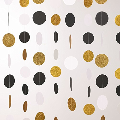 Ling's moment 9 Feet Circle Dots Paper Party Garland Gold & Black Polka Dots Banner for Wedding Bridal Showers Birthday Graduation Baby Shower Event & Party Supplies