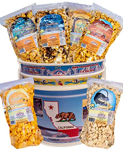 Fantastic Deal! Popcorn by Colorado Kernels Popcorn Delights | 3.5 Gal CELEBRATE CALIFORNIA THE GOLDEN STATE Bucket | 6 lg resealable bags | Kettle Corn, Cheddar, Caramel, Chocolate, Almonds/Pecan, Buffalo Ranch