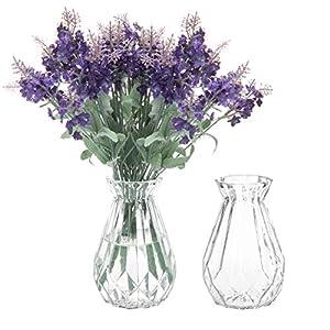 Silk Flower Arrangements MyGift 5-Inch Decorative Clear Glass Diamond-Faceted Flower Vases, Set of 2