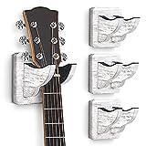 4 Pack Guitar Wall Hanger, Guitar Wall Mount Guitar Wall Mounted Holder Ukulele Hanger Bracket Wood Hanging Holder for Acoustic Guitar Bass Banjo Mandolin White
