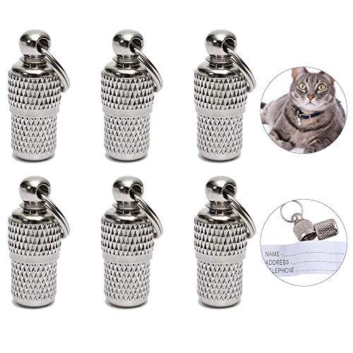 Golrisen 6pcs Etiquetas de Identificación para Mascotas con Nota de Papel para Registrar Nombre Dirección y Número de Télefono,con Anillo de Llavero para Colgar en Collares de Perros Pequeños y Gatos