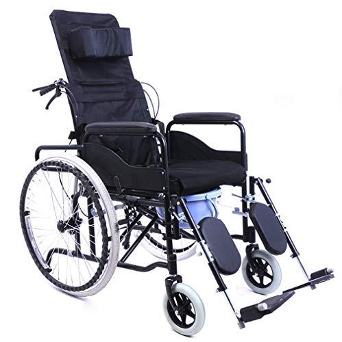 Dajolg Rollstuhl mit voller Rückenlehne, abnehmbare volle Armlehne mit Toilette, Beinauflage anhebbar, multifunktionaler 18-Zoll-Sitz, geeignet für mittlere und alte Menschen usw.Wheelchair