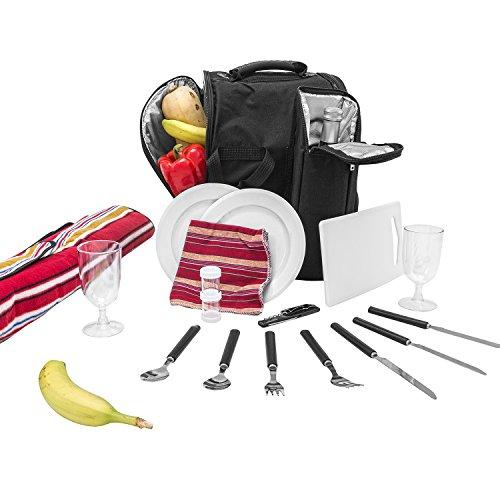 Inspirion Picknick Rucksack Diabolo inklusive Vollausstattung Kühltasche für 2 Personen