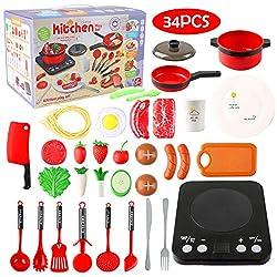 Küchenspielzeug, Kinderküche Zubehoer mit Töpfe und Pfannen Set Realistischer Licht & Sound Induktionsherd,Gemüse,Küchengeschirr Kinder Kochgeschirr Spielzeug 3 Jahren für Mädchen (34PCS)