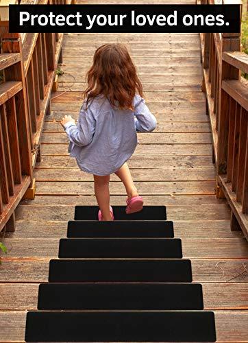 6â€x30†Stair Treads Non-Slip Outdoor Tape – (10-Pack) Black Anti-Slip Strips