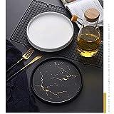 Marmor Deko Tablett für Schmuckablage,Keramik Dekoteller Im Nordic Stil Marmorschale Servierbrett für Schmuck Snack Aufbewahrung Display,Servierteller für Schlafzimmer Wohnzimmer… - 7