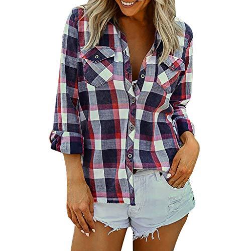 iHAZA T-Shirt Femmes à Carreaux à Rayures à pour Chemise à Manches Longues Blouse