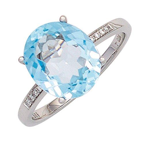 Ring Damenring mit Blautopas hellblau & 8 Diamanten Brillanten 585 Gold Weißgold, Ringgröße:Innenumfang 58mm ~ Ø18.5mm