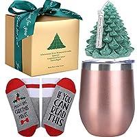 ワインタンブラー クリスマスギフト 女性用 誕生日 ワインギフト バスケット 姉妹 母 友人 二重断熱ワイングラスタンブラー クリスマスツリーの香り キャンドル ソックス ギフトセット (グリーン)