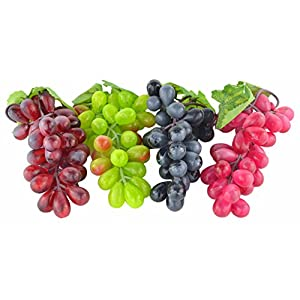 JEDFORE 4 Bunches of Artificial Black,Red, Green and Purple Grapes Fake Fruit Home House Kitchen Party Wedding Decoration Photography – 4 Colors