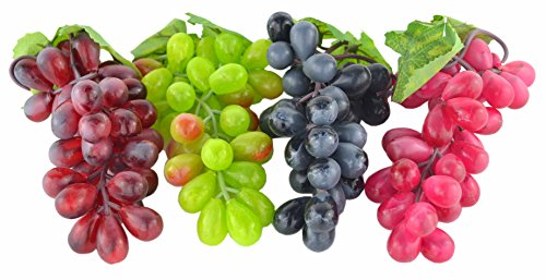 JEDFORE 4 Bunches of Artificial Black,Red, Green and Purple Grapes Fake Fruit Home House Kitchen Party Wedding Decoration Photography - 4 Colors