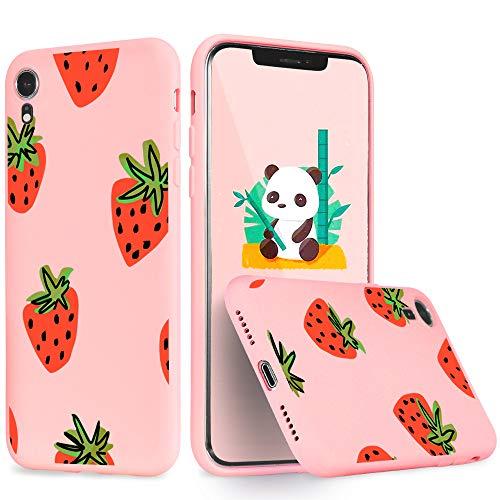 Idocolors Für iPhone 6s Plus / 6 Plus Hülle Flüssig Silikon Rosa mit Süßer Erdbeere Muster Handyhülle Bumper Rundumschutz Case Dünn Weich rutschfest Stoßfest Obst Schutzhülle Slim Cover