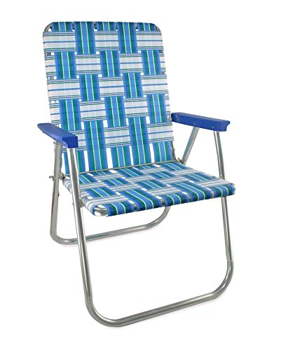 Lawn Chair USA Webbing Chair (Classic, Sea Island with Blue Arms)