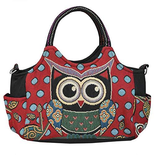 Wilai Eule Tasche Handtasche Henkeltasche ***EULE*** Shoppertasche Schultertasche Eulenmotiv Umhängetasche - verschiedene Motive erhältlich - VINTAGE LOOK/absolut cool und stylish (42235)