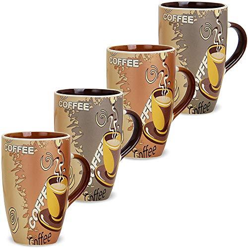 matches21 Große Tassen Becher Kaffeetassen Kaffeebecher Modern Coffee Keramik 4er 2-fach hellbraun dunkelbraun 12 cm 350 ml