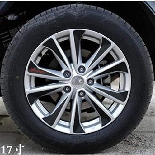 Etiquetas engomadas de la rueda de la rueda del vinilo de fibra de carbono negro Etiqueta engomada del borde Decoración de recorte para Nissan Qashqai J11 2014 2015 2016 2016 2017 40pcs R17