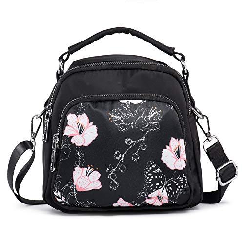 LaRechor Kleine Umhängetasche Handtasche Schultertasche für Damen Tote Tasche Mini Rucksack Nylon Frauentasche (Blumen mit Schmetterling)