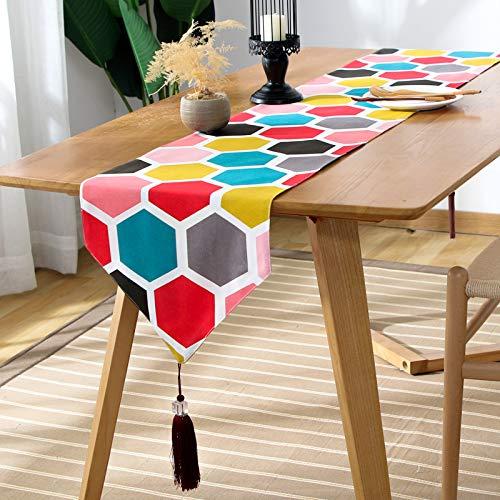 Farbe Honeycomb Table Runner, American Country Couchtisch, Esstisch, Schuhschrank, Eingangsschrankabdeckung, 2 Seiten Baumwolltuch 33x120cm