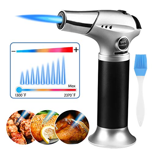Butane Torch, Cooking Torch Refillable Culinary Torch with Safety Lock Adjustable Flame Mini Blow Torch Lighter for Crafts Cooking BBQ Baking Brulee Creme, Christmas Gift Silver