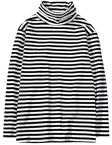 Hotmiss Men's Turtleneck Striped Hipster Hip Hop Pullover Long Sleeve T-Shirt Top (White Black, X-Large)