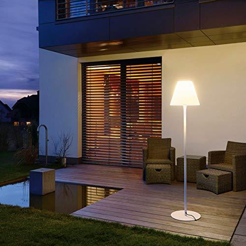 SLV LED Außen-Stehlampe ADEGAN/Standleuchte Outdoor-Beleuchtung Terrasse/LED Stehleuchte Wege-Leuchte, Kandelaber, Sockellampe, Garten-Beleuchtung, Gartenleuchte/E27, weiß, max. 24W, EEK A-A++