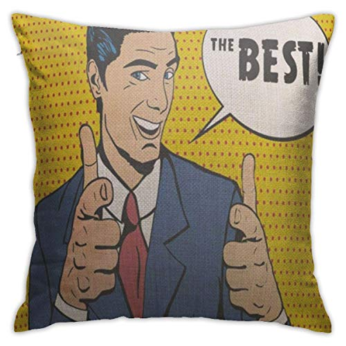 BJfuda Throw Pillow Covers 18x18 Inches,Square Decorative Throw Pillow Cases for Sofa Bedroom Car Man Telling The Best Pointing Fingers Hand Guns at Viewer Pop Retro Style Halftone Speech Bubble