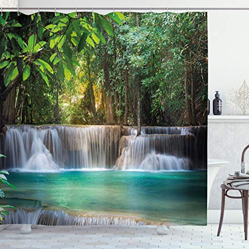 """Ambesonne Waterfall Shower Curtain, Heaven Like Landscape of a Waterfall from Thailand with Exotic Trees Print, Cloth Fabric Bathroom Decor Set with Hooks, 70"""" Long, Green Blue"""