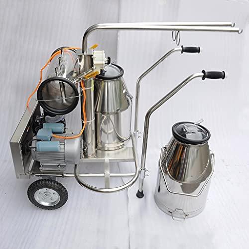 Equipo para el hogar Industrial Agrícola Nuevo 220V Granja Oveja Ordeñadora de lácteos Ordeñadora Máquina recolectora de leche Juego con dos cubos Tanque Contenedor Carro de barril Bomba de vacío