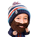 Beard Head Kid Gromm Beard Beanie -Knit Hat and Fake Beard for Kids and Toddlers Brown