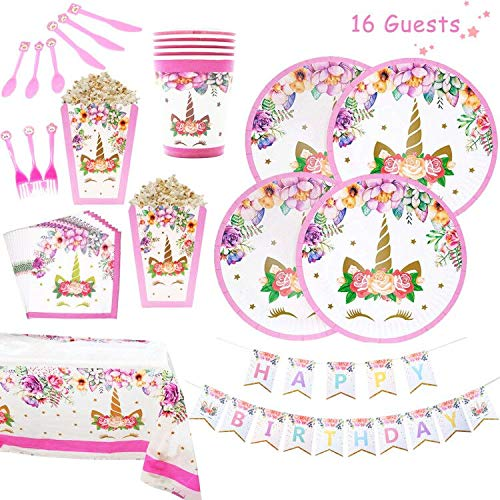 Unicorn Party Supplies Set   Unicorn Decorations and Tableware   Disposable and No Washing Up   Serves 16 – 118 Pieces - Perfect For Birthday Girls, Baby Showers and 1st Birthday Magical Party Favors