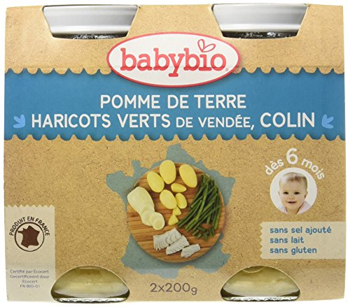 Babybio Pots Pomme de Terre/Haricots Verts du Val de Loire Colin 400 g - Lot de 6