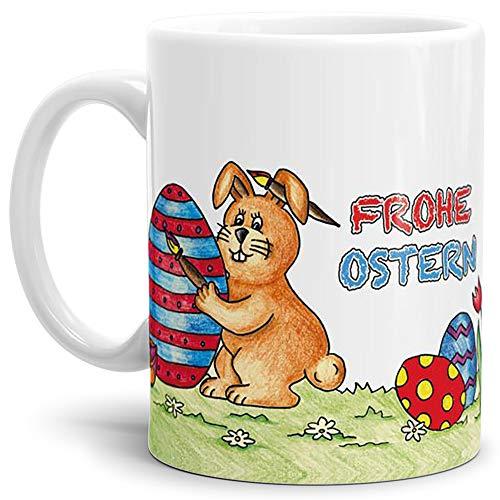 Tassendruck Oster-Tasse Frohe Ostern Weiss/Ostern/Gemalt/Schön/Kaffeetasse/Oster-Geschenk/Beste Qualität - 25 Jahre Erfahrung