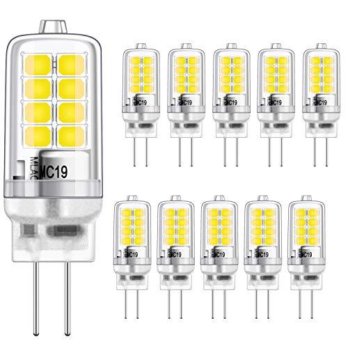 G4 LED Birne 2W Kaltweiss 6000K Gleichwertig 20W Halogen Glühbirnen, g4 fassung Energie sparen Lampe, Kein Flimmern, nicht dimmbar, 320LM, 12V AC/DC, 10er Pack