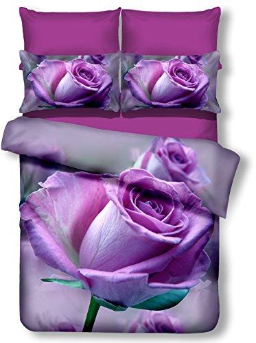 DecoKing 01394 Bettwäsche 200x200 cm mit 2 Kissenbezügen 80x80 lila 3D Microfaser Bettbezug Rosa Blumenmuster violett Pflaume Callie