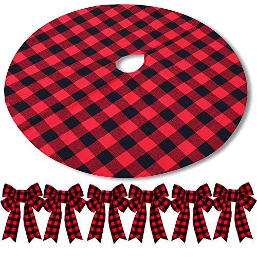 Falda de Árbol de Cuadros de Búfalo Navideño con 6 Lazos de Cuadros de Búfalo Falda de Árbol de Cuadros de Búfalo Rojo y Negro Decorativo para Decoración Navidad, Invierno Año Nuevo