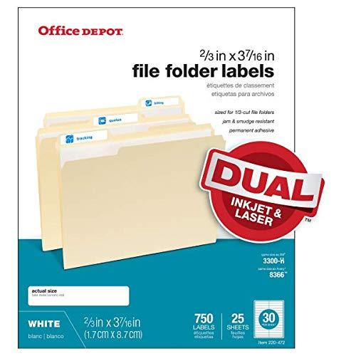 Office Depot White Permanent Inkjet/Laser File Folder Labels, 2/3in. x 3 7/16in, White, Pack of 750, 505-0004-0011