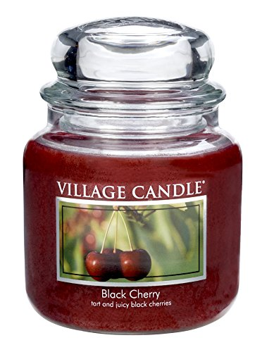 Village Candle 106316042 Schwarze Kirsche Duftkerze im Glas, 454 g, Rot, 10,3 x 10,1 cm