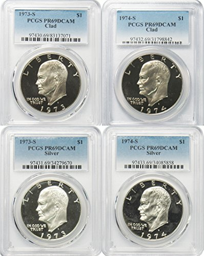 1973 S S Silver 1973 S Clad & 1974 S Silver 1974 S Clad Eisenhower Ike Dollar $1 PCGS PR69DCAM