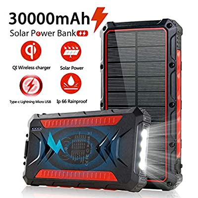 Solar Power Bank 30000mAh, Solar Charger,Portable Charger, Outputs 5V/3A High-Speed & 2 Inputs Huge Capacity Phone Charger for Smartphones, IP66 Rating, Strong Light LED Flashlights