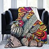 Psicodélico colorido Swirly espinoso pera vintage cactus manta cálida manta polar ligera manta manta manta manta manta de microfelpa decoración del hogar aire acondicionado manta cama sofá sofá