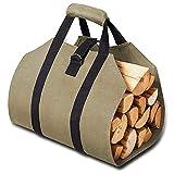 canasta de troncos gris Portador de leña portátil Bolsa de asas Chimenea Soporte de madera Cubierta de almacenamiento grande Llevar Bolsa de almacenamiento Bolsas de lona de madera rejilla de chimenea